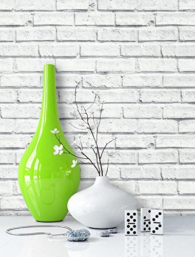 NEWROOM Steintapete Weiß Papiertapete Weiß Jung,Landhaus,Vintage Mauer,Natur,Stein schöne moderne und edle Design 3D Optik, inklusive Tapezier Ratgeber