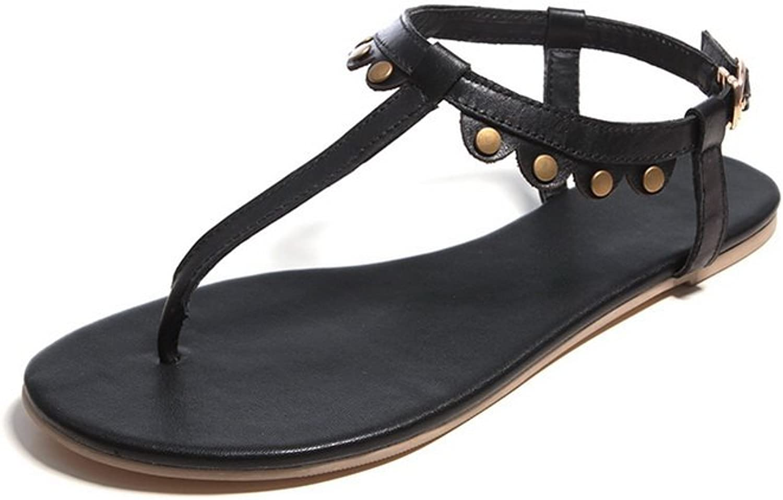 WeenFashion Women's Soft Material Buckle No Heel Solid Sandals