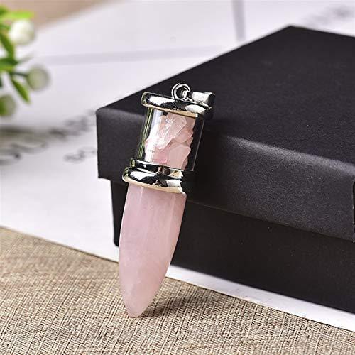 ABCBCA 1 unid Bala en Forma de Colgantes de Piedra Natural Colgante de la joyería de Cuarzo Transparente para Hombres y Mujeres Chakra Gema Cono de Cuarzo Regalo de Cristal (Color : Rose Quartz)