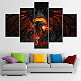 Fire Dragon Wall Art Fire Medieval Dragon Pictures Deathwing Artwork for Living Room Multi Panel Prints on Canvas Black Animal Paintings House Decor Framed Gallery-Wrapped Ready to Hang(60''Wx 40''H)