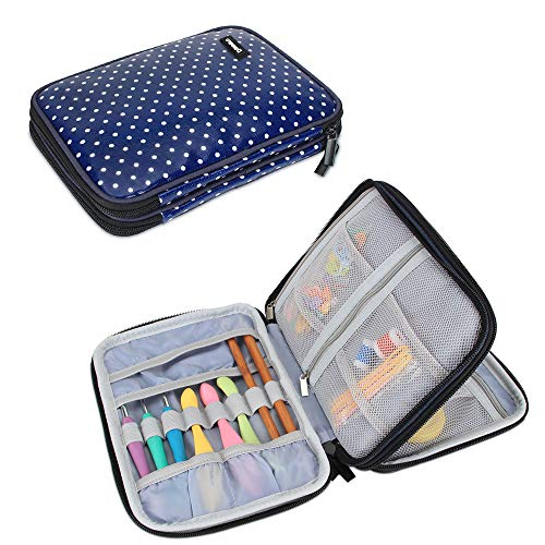 Damero Crochet Hook Case, Travel Storage Bag for Swing Crochet Hooks, Lighted Hooks, Needles(Up to 8'') and Accessories, Large, Blue Dots (No Accessories Included)