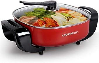 Sooiy Hot Pot, électrique Multifonction, cuisinière chauffante électrique, 1800W, 220 V, Rouge