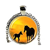 Glass Dome Pendant mom and baby horses necklace horse silouette jewelry