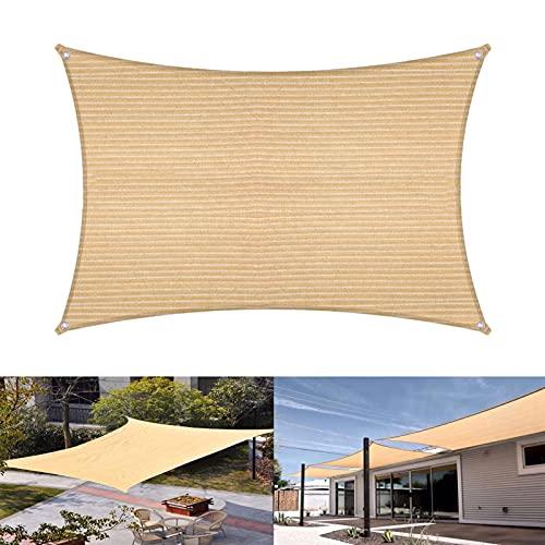 Toldo Vela de Sombra, Velas de Sombra protección UV y Transpirable, Rectangular para Jardín, Patio, Exteriores, Pergola Decking