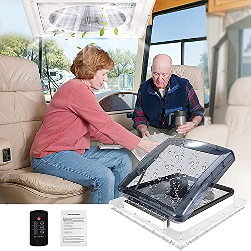4YANG Belüftung für Wohnmobil RV Dachventilator 12V RV Dachventilator mit 3 Gänge einstellbare Windgeschwindigkeit,Regensensor,1200 RPM/min,für Wohnmobile oder Wohnwagen
