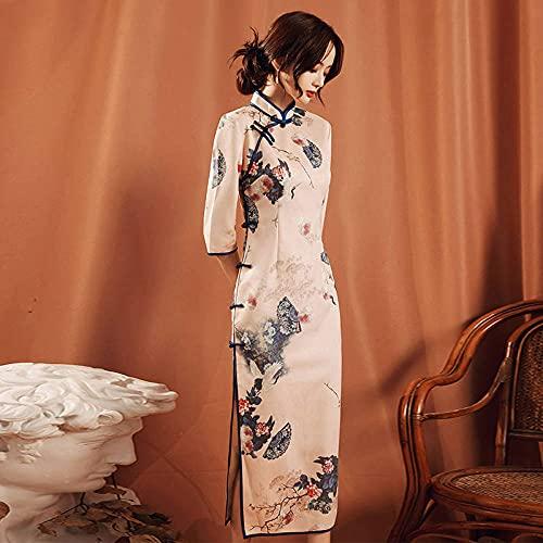 CIDCIJN Vestito Cinese - Cheongsam Abito Cinese Vintage Stampa Floreale Qipao Donne Tradizionale Qipao Abito Lungo A Maniche Corte Abiti da Festa Plus Size,3XL