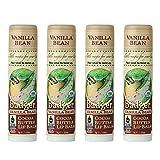 Badger - Cocoa Butter Lip Balm, Vanilla Bean, Certified Organic Lip Balm, Fair Trade, Natural Lip Balm, Lip Butter, Lip Balm Cocoa Butter, Cocoa Care Lip Balm, 0.25 oz (4 Pack)