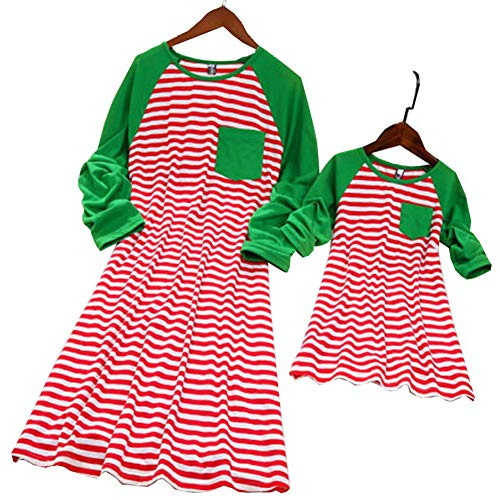 Stripe Pattern Christmas Dress for Mother and Daughter Matching Clothes Outfits (6-7 T, Daughter's)