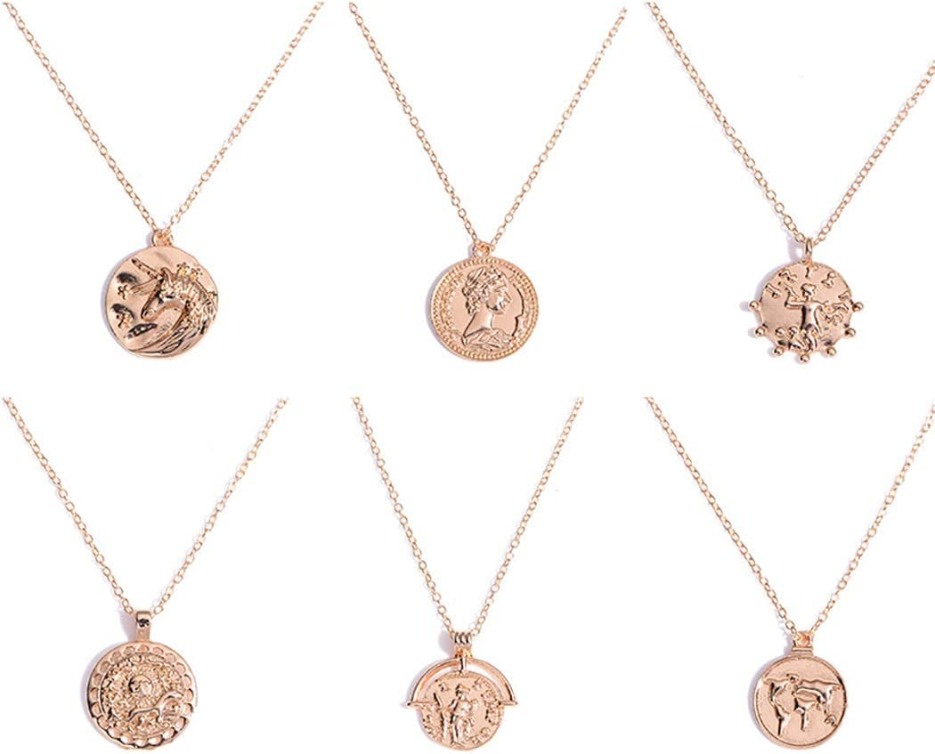 FDesigner Ancient Greek Coin Collar Necklace Athena Apollo Pendant Choker Chain Dainty Jewelry Gold for Women and Girls (Map)