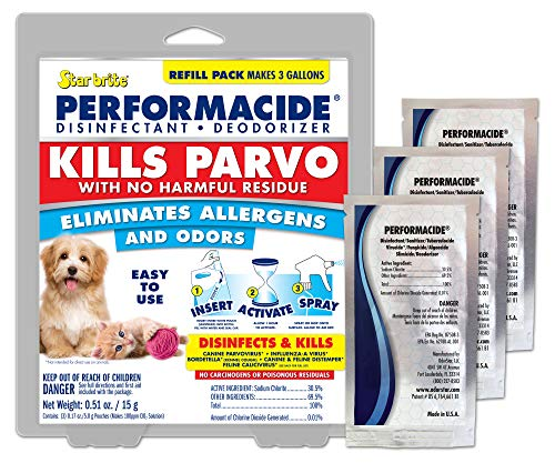 Performacide ~ Disinfectant Kills Parvovirus, Human Coronavirus 229E (HCoV-229E), Influenza-A, Feline Calicivirus, and Avian Influenza-A (Gallon Refill Kit 3pk, NO Bottle), 1427957