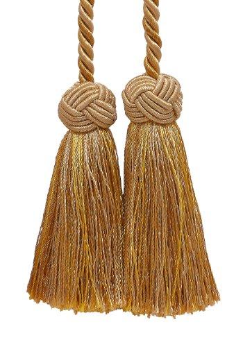 Doppelte Quaste/Zwei Tone Gold/Quaste Krawatte mit 8,9cm Quasten, 50,8cm Spread (Kabellänge) Barock Collection Stil # BCT Farbe: Gold Medley–8633b