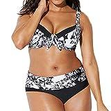 Rawdah-- Donne Taglie Forti Retro Vita Alta Due Pezzi Bikini Spiaggia Costumi da Bagno Coordinati,Capestro Bendare Foglie di Fiori Stampa Bikini Costume da Bagno Mare Spiaggia Estate (Nero, XL)