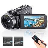 Videocámara Vlogging Cámara Youtube Cámara HD 1080P 24.0MP LCD 3.0 pulgadas pantalla giratoria 270 grados zoom digital 16x, cámara con 2 pilas
