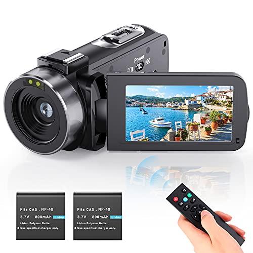 Videokamera Camcorder Vlogging Kamera YouTube Camera HD 1080P 24.0MP 3,0 Zoll LCD 270 Grad drehbarer Bildschirm 16-facher Digitalzoom Kamerarecorder mit 2 Batterien