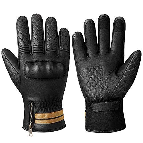 INBIKE Motorradhandschuhe Winter Herren Winterhandschue Wasserdicht Leder Thermo Motorrad Handschuhe Mit Harter Schutz Schwarz S(CW865)