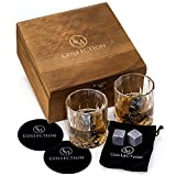 Whiskey Stones Gift Set - 8 Granite Whiskey Rocks Reusable Chilling Stones and 2 Crystal Bourbon Whiskey Glasses in Wooden Box - Whiskey Birthday Gift Set For Him, Men, Dad, Husband, Boyfriend, Boss
