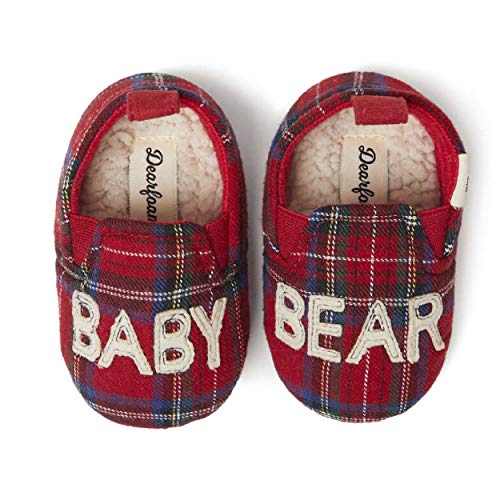 Dearfoams Baby Bear Clog Slippers – Cute, Cozy and Comfortable in Classic Patterns and Colors - Cushioned Insole with Memory Foam - Indoor/Outdoor Rubber Outsole, Baby Bear Red Plaid, 0-3 Months Infant M US Infant
