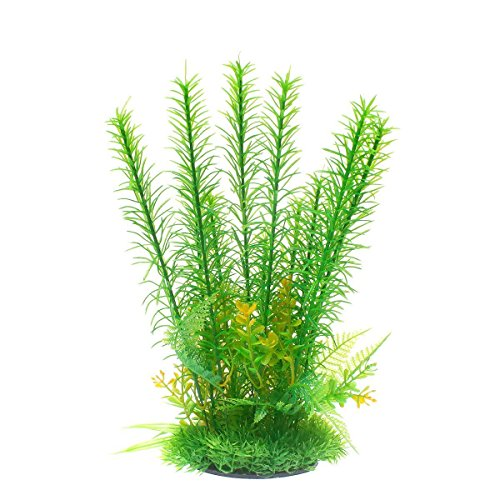 Uotyle人工水草 水槽オブジェ 魚タンク装飾 人工観葉植物 癒し水景 プラスチック製 グリーン 飾り物 高さ31cm
