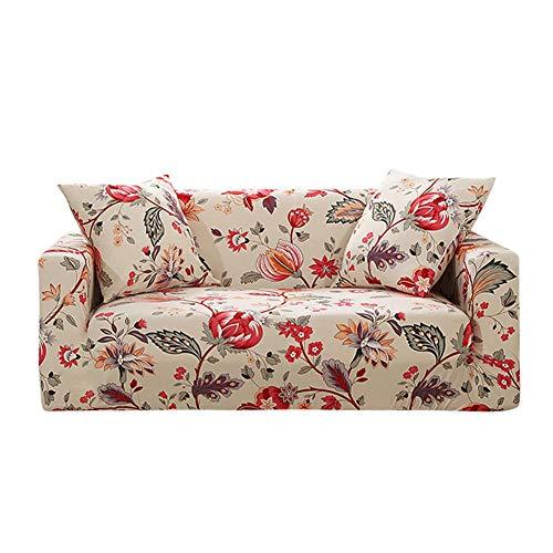 Prosperveil - Fundas de sofá Estampadas de poliéster elástico y Elastano, Fundas para sofá y Muebles, Beige Floral, 3 Seater