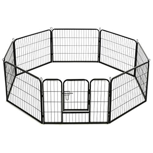 pedkit Caseta para Conejos, Gatos y Perros pequeños Corral para Perros 8 Paneles de Acero 60x80 cm Negro