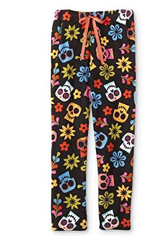 Disney Womens Juniors Coco Sugar Skulls Plush Sleep Lounge Pajama Pants, 1X Black