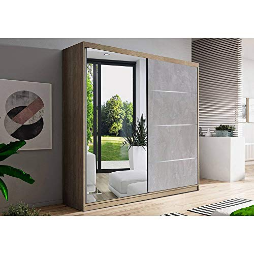 E-MEUBLES Armoire de Chambre avec 2 Portes coulissantes 1 Porte avec Miroir| Penderie (Tringle) avec étagères (LxHxP): 183x218x61 Beton (Sonoma)