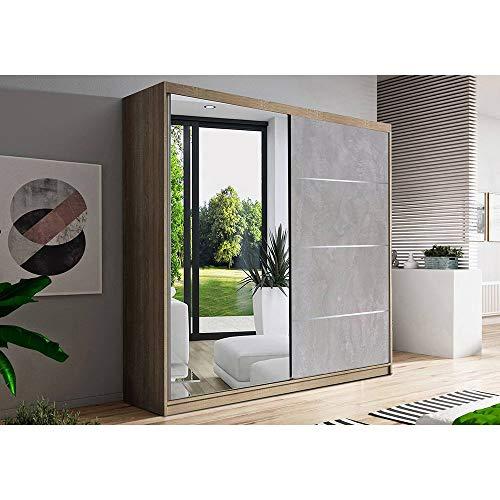 Kleiderschrank Schwebetürenschrank 2-türig Schrank mit zusätzlichen Stauraum (Schrankaufsatz) vielen Einlegeböden und Kleiderstange Gaderobe Schiebtüren BxHxT 183x218x61 - Beton (Sonoma)