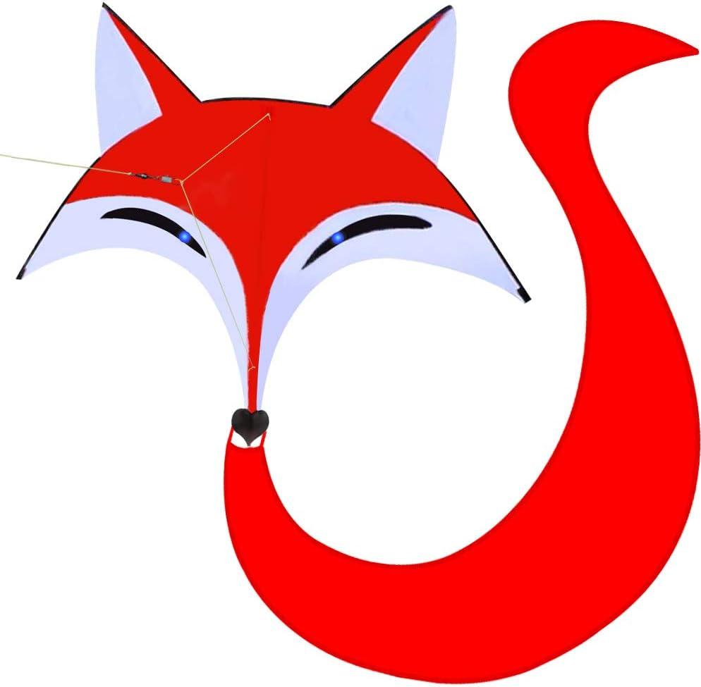 HENGDA KITE for Kids Red Fox Kite Outdoor Fun Sports Single Line