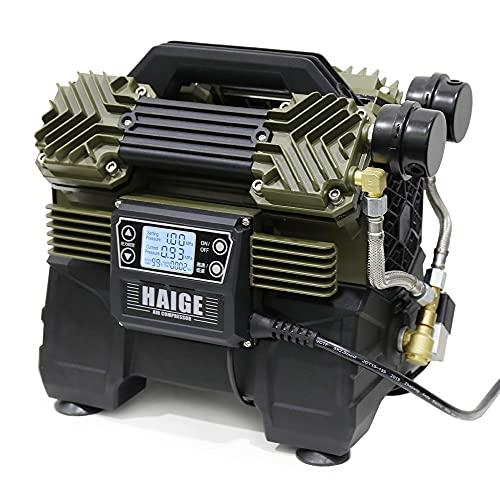 HAIGE 静音 ストレスフリー コンプレッサー 100V 出力1500W(2馬力) 最大圧力1.0MPa 吐出空気量250L 軽量 小型 タンク内蔵 デジタル液晶モニター ブラシレス オイルレス HG-DC990