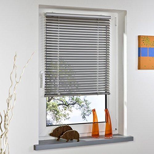 Liedeco® Klemmfix-Jalousie, Alu-Jalousie ohne Bohren mit Universal-Klemmträger, Decken- oder Wand- oder Fenstermontage/Breite x Höhe 43 x 60 cm, Silber, einhändig