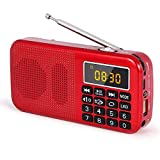 PRUNUS J-725C Portable Mini FM Radio Speaker Music Player USB Drive TF Card with LED Display, Alarm Clock, 3000 Rechargeable Battery, NO AM(Red)