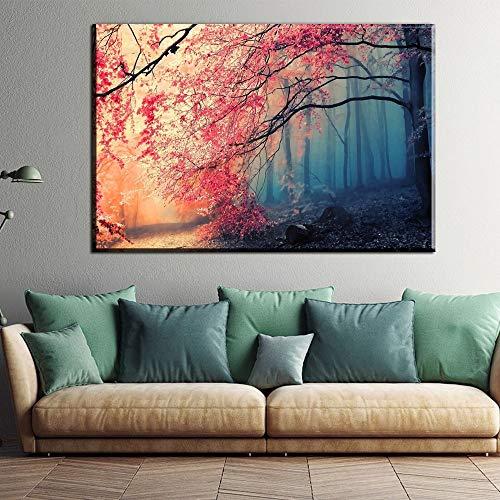 hetingyue Modulare Leinwand HD-Druck Poster Home Decoration Wandkunst Bild einzelne rote Baum Landschaft rahmenlose Malerei 30x40cm