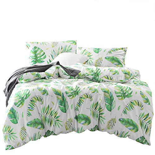 Wake In Cloud - Tree Leaves Duvet Cover Set, 100% Cotton Bedding, Green Monstera Plant and Banana Leaves Pattern Printed on White, with Zipper Closure (3pcs, Full Size)
