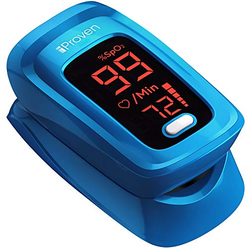 iProven Pulse Oximeter with Heart Rate Monitor on Fingertip, Oxygen Saturation Oximeter, Includes Batteries, Case and Lanyard (Blue)