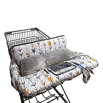 Shopping Cart Cover for Baby Cotton Minky Bolster Positioner 6.5  Cellphone Holder High Chair Cover for Boy Girl,Infant Grocery Cart Cushion Liner Large