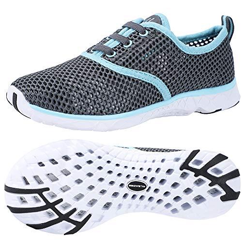 ALEADER Women's Aquatic Water Shoes for Pool, Swim, Beach, Outdoors, Walking Sneaker Grey/Aqua Sky 9.5 B(M) US
