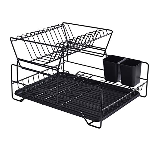 FEXAIX 2 Tier Dish Drainer with Removable Drip Tray, Anti-Rust Cutlery Holder and Cup Holder for Dish Rack in Kitchen (Color : Black)