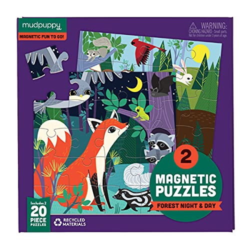 Mudpuppy Forest Night and Day Magnetic Puzzles – Ages 4-7 – Includes 2, 20-Piece Magnetic Puzzles and a Magnetized Tri-Fold Portfolio – Great for Travel, Quiet Time, Multicolor, 356048