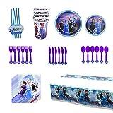 Fiesta de cumpleaños Vajilla Fiesta fiesta frozen Decoración Cumpleaños Conjunto de Suministros Tazas Utensilios para Niños Cumpleaños Niñas