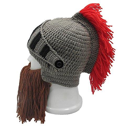Metyou Peluca de barba sombreros hechos a mano de punto cálido invierno gorras de esquí divertido máscara Beanie para hombres mujeres