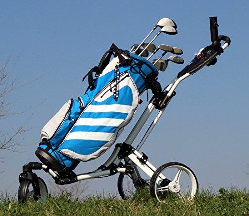 """Golftrolley Yorrx® SL Pro 7 HAMMA """"PLUS"""" Ausstattung, Golfwagen mit innovativem 360° SPIN Vorderrad (weiß) inkl. orig. Yorrx Golfhandtuch & Tees … - 6"""