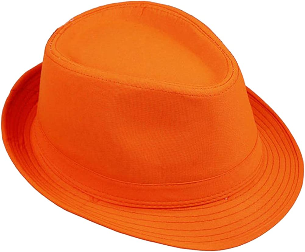 1X Unisex Summer Beach Fedora Trilby Straw Hat Sunhat Gangster Cap for Wome Men 6 Neon Colors
