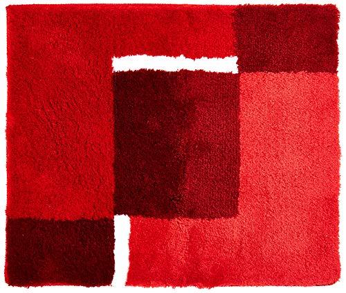 Kleine Wolke 4598453225Dakota Badteppich Polyacryl rot/grau, Rot/Grau, 55 x 65 cm