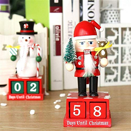 Wooden Snowman Toy Countdown Calendars New Year Date Reminder Christmas Decorations Nutcracker Puppet Advent Calendars Ornaments (Color, Santa Claus),Santa Claus (Color : Snowman)