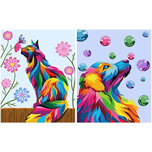 2 piezas de pintura por número DIY para pintura de número adulto, pintura al óleo de bricolaje, con cepillos y pinturas acrílicas para adultos o principiantes y gatos, 30 x 40 cm