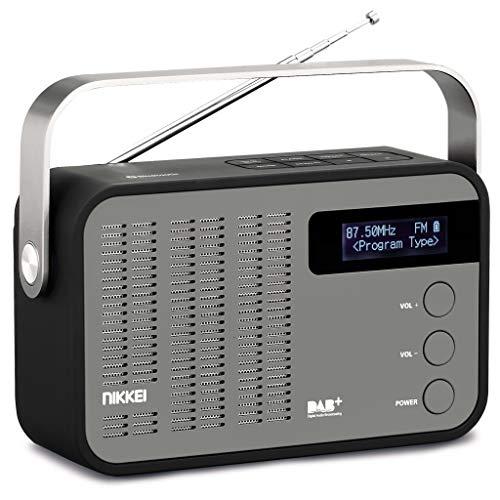 Nikkei NDB40BK Draagbare digitale radio, klein, DAB+, Bluetooth, AUX, USB, 20 zenders geheugen, goed geluid, ontvangststerk - zwart