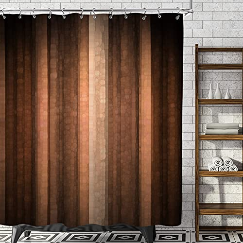 AMBZEK Brown Earth Shower Curtain Bronze Rust Shower Curtains Set Bathroom Decor Burnt Orange Copper Bathroom Accessories for Men Peach Tan Clay Strip Farmhouse Rustic Vintage Modern Fabric 60Wx72 H