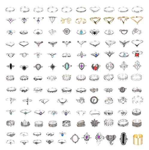 FIBO STEEL 118 Pcs Knuckle Rings Set Vintage Hollow Rings Stackable Finger Rings for Women