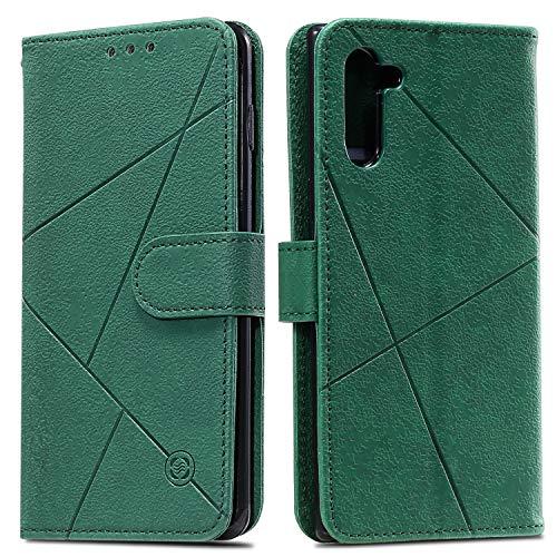 Snow Color Galaxy Note 10 Hülle, Premium Leder Tasche Flip Wallet Case [Standfunktion] [Kartenfächern] PU-Leder Schutzhülle Brieftasche Handyhülle für Samsung Galaxy Note10 - COHH060279 Grün