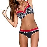OverDose Damen Padded Push-Up-BH Dreieck Bedruckte Schlinge Bikini Set Badeanzug Badeanzug Bademode Beachwear Badeanzüge(Rot,XL)